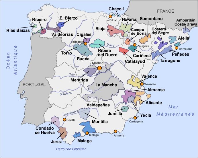 carte des vins d espagne